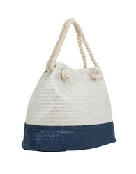 Magid Metallic Paper Straw Tote Silver Navy