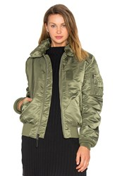 Alpha Industries B 15 Slim Fit Bomber With Faux Fur Collar Green