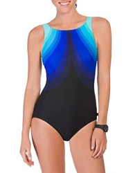 Reebok Aqua Angek Scoopback One Piece Swimsuit Blue