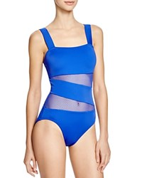 Dkny Mesh Effect Splice Maillot One Piece Swimsuit Electric
