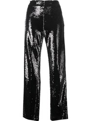 Msgm Sequinned Wide Leg Trousers Black