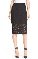 Parker 'Sandia' Semi Sheer Lace Pencil Skirt Black