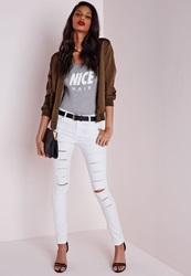 Missguided Mid Rise Multi Ripped Skinny Jeans White