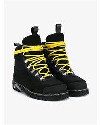 Off White Suede And Leather Hiking Boots Black Yellow Silver Off White