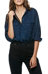 Free People Women's Off Campus Button Down Shirt Navy