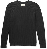 Folk Ribbed Stretch Cotton Sweater Black