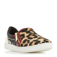 Dune Edgar Mixed Material Slip On Shoes Leopard Print