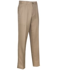 Greg Norman For Tasso Elba Men's 5 Iron Flat Front Golf Pants Washed Khaki