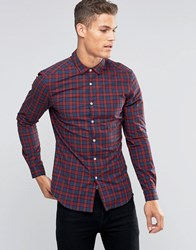 Asos Skinny Shirt In Navy And Red Check With Long Sleeves Navy Red