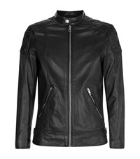 Diesel Quilted Leather Jacket Male Black