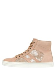 Hogan Rebel 20Mm Leather And Sequins Sneakers