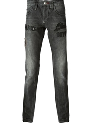 Philipp Plein Slim Fit Patchwork Jeans Grey