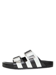 Givenchy Striped Leather Slide Sandals Black White