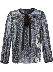 Marc Jacobs Daisy Print Voile Blouse Black