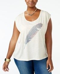 Jessica Simpson Trendy Plus Size Winnie Feather Graphic T Shirt Watercolor Feather