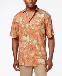 Campia Moda Men's Tropical Pineapple Print Short Sleeve Shirt Coral