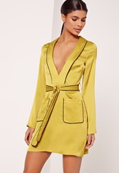 Missguided Silky Plunge Pocket Detail Shirt Dress Chartreuse Green