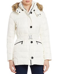 Vince Camuto Faux Fur Trimmed Puffer Jacket Winter White