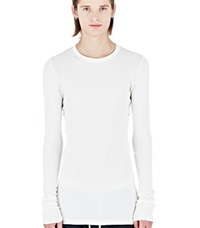 Rick Owens Drkshdw Ribbed Long Sleeved Sweater White