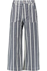 7 For All Mankind Cropped Striped Stretch Cotton Chambray Wide Leg Pants Storm Blue