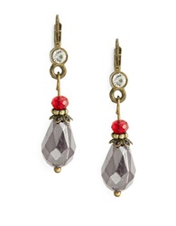 Robert Rose Teardrop Beaded Drop Earrings Red
