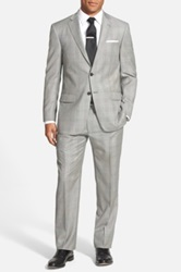 Hart Schaffner Marx Classic Fit Plaid Wool Suit Gray