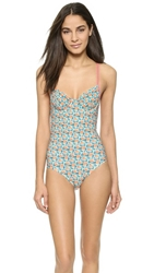 Marc By Marc Jacobs Mini Jerrie Rose One Piece Swimsuit Pale Jade Multi