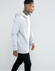 Asos Longline Hoodie With Side Zips In Light Blue Hvar