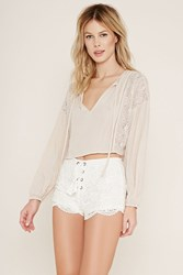 Forever 21 Lace Up Crochet Shorts