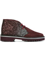 Pollini Glitter Panel Desert Boots Pink And Purple