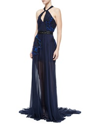 Pamella Roland Sleeveless Twist Front Embellished Gown Navy