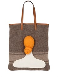 Carmina Campus Head With Bun Recycled Wool Tote Bag