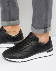 Pull And Bear Pullandbear Faux Leather Runner Trainers In Black Black
