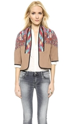 Twelfth St. By Cynthia Vincent Cropped Embroidered Jacket Tan