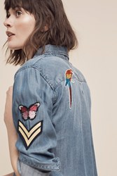 Anthropologie Patched Chambray Buttondown Denim Light