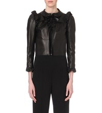 Alexander Mcqueen Cropped Ruffled Leather Jacket Black
