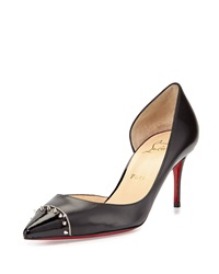 Christian Louboutin Culturella Spiked Half D'orsay Red Sole Pump Black