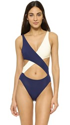 Solid And Striped Poppy Delevigne Wrap Swimsuit Navy Cream