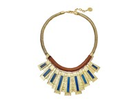 Vince Camuto 18 Moroccan Drama Necklace Antique Gold Brown Blue Swirl Necklace
