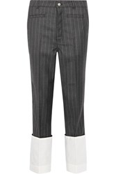 Loewe Pinstriped Wool Straight Leg Pants Dark Gray