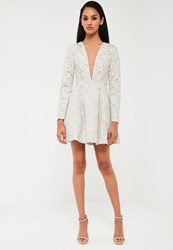 Missguided White Lace Plunge Neck Skater Dress