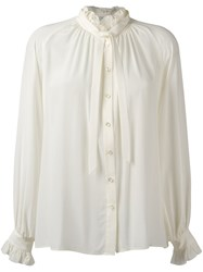 Closed Frill Neck Shirt White