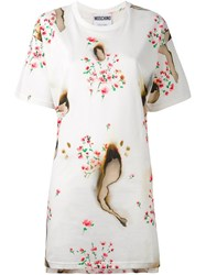 Moschino Burned Effect T Shirt Dress Nude And Neutrals