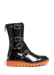 Stella Mccartney 'Odette' Eco Patent Leather Buckle Boots Black