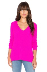 Autumn Cashmere Shaker Stitch V Neck Sweater Pink