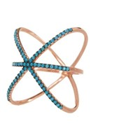 Sterling Forever 14K Rose Gold Silver And Turquoise Criss Cross X Ring