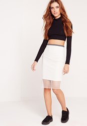 Missguided Mesh Ribbed Waist Pencil Skirt White White