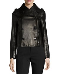 Red Valentino Double Breasted Leather Moto Jacket Black