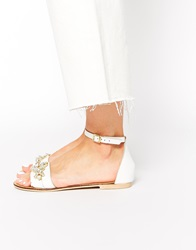Oasis Crystal Embellished Two Part Flat Sandals White