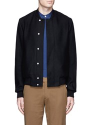 Paul Smith Wool Cashmere Blend Twill Bomber Jacket Black